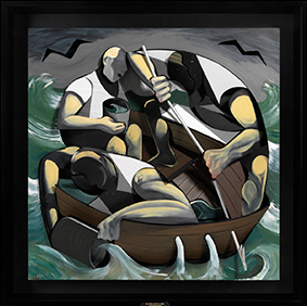 Adam Neate, 2014, The ship of fools, mixed media on board . 109 x 109 x 18 cm