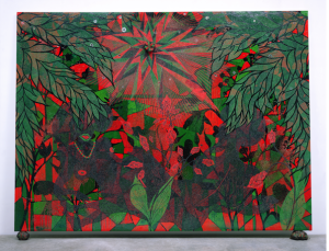 Chris Ofili, Afronirvana, 2002. Oil, acrylic, polyester resin, aluminum foil, glitter, map pins, and elephant dung on canvas,108 × 144 in (274.3 × 365.7 cm). Courtesy the artist, David Zwirner, New York/London, and Victoria Miro, London ©Chris Ofili