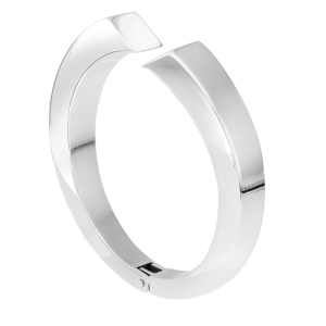 Quantum Cubus White Gold Plated Stainless Steel Bangle - £67