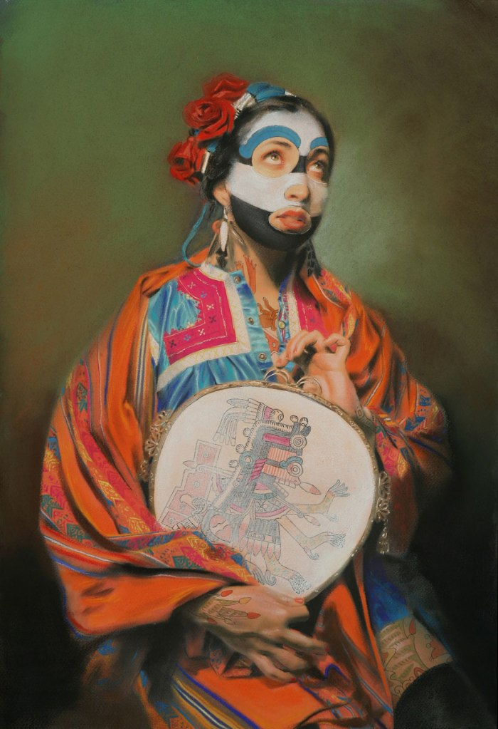 Mexican-American artist David Gremard Romero's work, which aims to reclaim lost elements of native Mexican culture, asks which is the mask - the mask itself, or the face beneath?