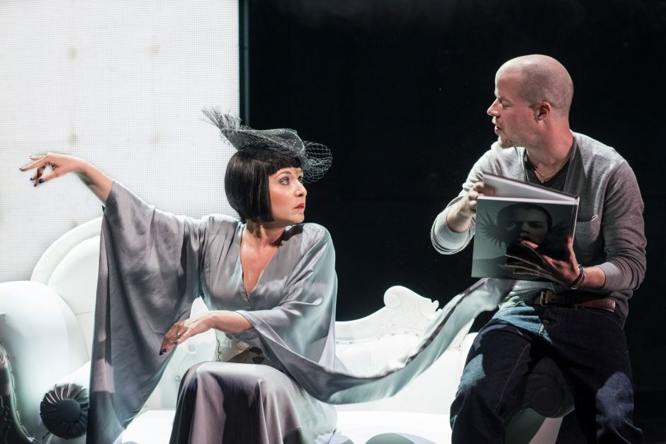 Stephen Wight and Tracy-Ann Oberman in McQueen at The Theatre Royal Haymarket