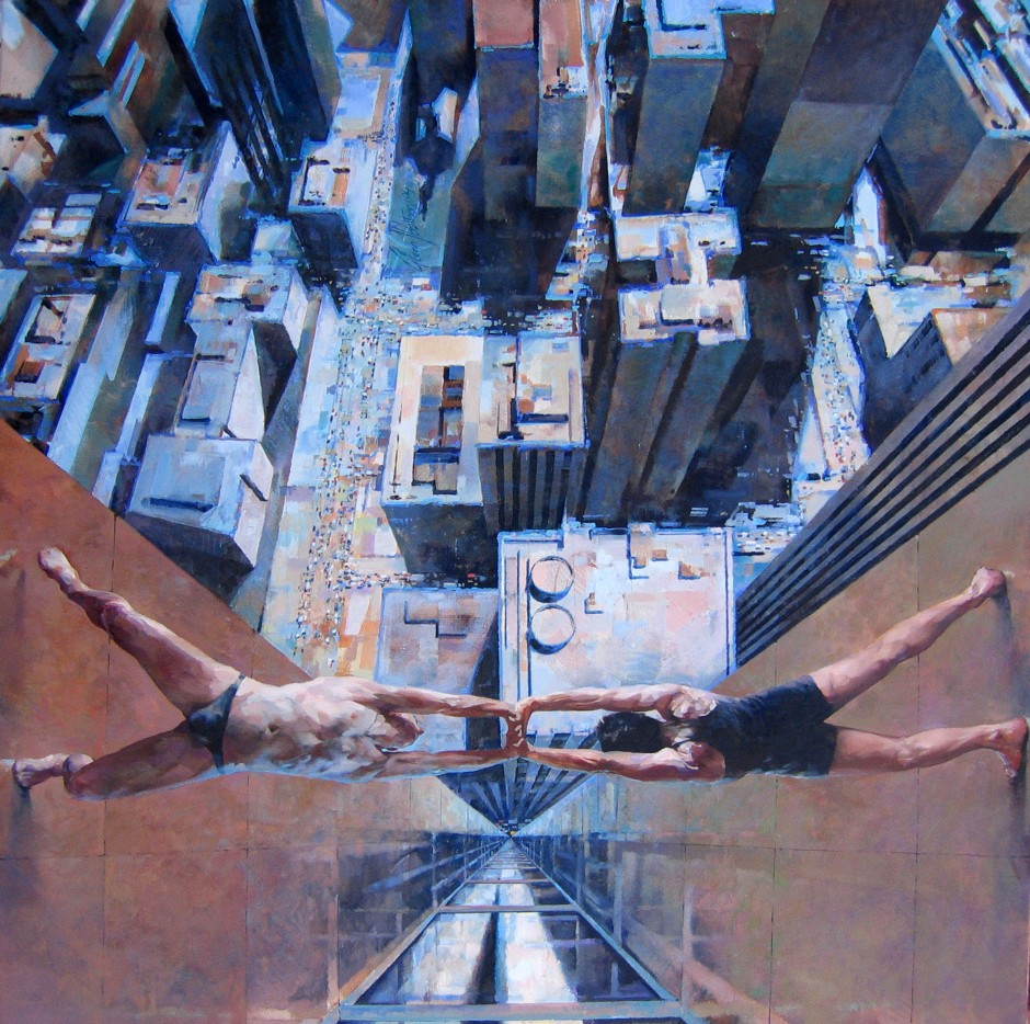 Glenn Ibbitson, Human Bridge, 122x122cm, Acrylic and oil on canvas.jpg